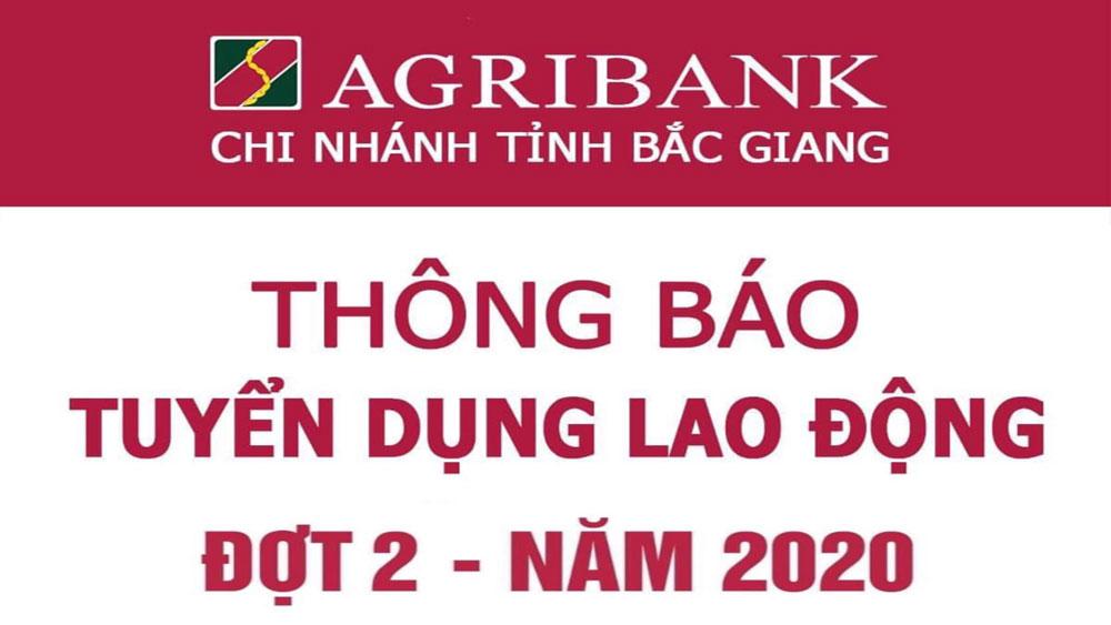 Agribank Chi nhánh tỉnh Bắc Giang thông báo tuyển dụng lao động đợt 2 năm 2020